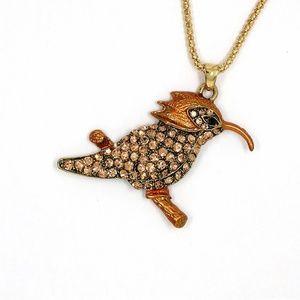 Jewelry - New Woodpecker Bird Champagne Crystal Necklace